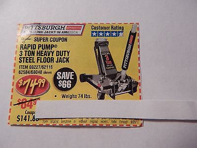 $66 Harbor Freight Coupon for a 3 Ton Heavy Duty Steel Floor Jack - pay  $74.99