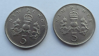 1970 &1971 BRITISH 5p PENCE COINS LARGE NEW PENCE
