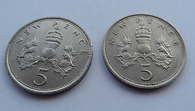 1969 &1970 BRITISH 5p PENCE COINS LARGE NEW PENCE