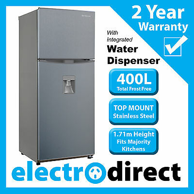 Brand New 400L Top Mount Refrigerator Stainless Steel Fridge + Water Dispenser