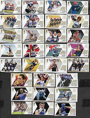1) GB Stamps  2012 Olympic gold Medal Winners Full Set (29) Good Used.