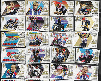 1) GB Stamps  2012 Paralympic gold Medal Winners Full Set (34) Good Used.