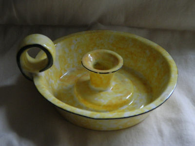 Stangl Yellow Spongeware Pottery Candle Holder with handle Town & Country