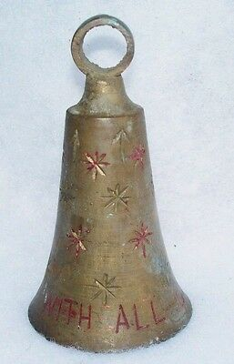 Large Vintage Mid Century Brass Etched Red Star Christmas Bell Ornament