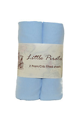 2 x Baby Crib/ Moses Basket Jersey Fitted Sheet 100% Cotton Blue 40x90cm