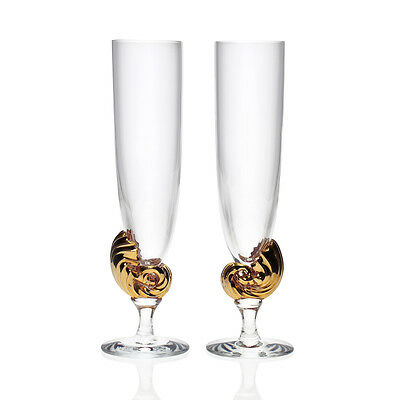 Holmegaard - Rare Pair Gold-Plated 'Neptune' Champagne Flutes - Boxed Danish