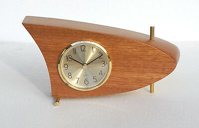 Danish Modern Mid Century Mantle / Table Clock, Mahogany
