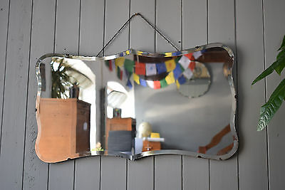 Vintage Mirror Rectanular With Tabs Bevelled Edged Art Deco Mirror With Chain