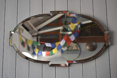 Vintage Mirror Oval With Tabs Bevelled Edged Art Deco Mirror With Chain