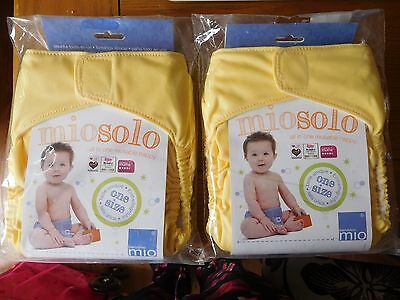 2 x Bambino Miosolo Reusable Nappy - One Size Brand New in Pack (yellow/lemon)