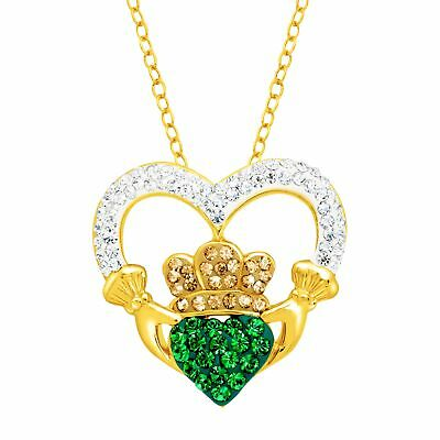Crystaluxe Claddagh Pendant with Swarovski Crystals in 18K Gold-Plated Silver
