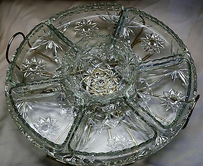 EAPC LAZY SUSAN TRAY PLATTER 9 Piece Complete Set Anchor Hocking Star of David