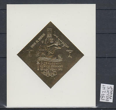 XG-AM013 UMM AL QIWAIN - Olympic Games, 1972 Gold Foil Deluxe Proof MNH Sheet
