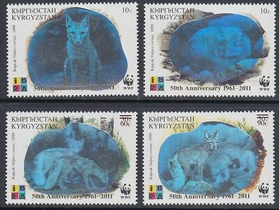 XG-AM074 KYRGYZSTAN - Wwf, 2011 Silver Hologram, Fox, 50Th Ann. Ovp MNH Set