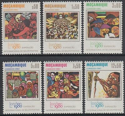 XG-AM830 MOZAMBIQUE IND - Paintings, 1980 London Philatelic Expo MNH Set