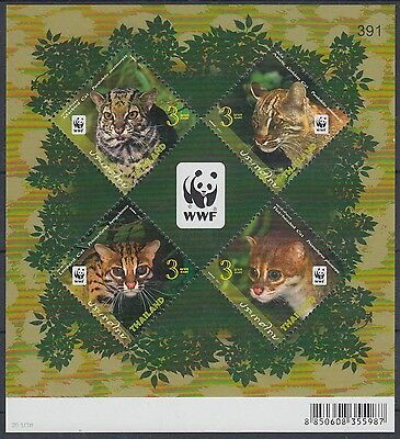 XG-AM078 THAILAND - Wwf, 2011 Wild Animals, Nature, Felins, Small Cats MNH Sheet
