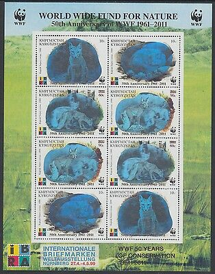 XG-AM075 KYRGYZSTAN - Wwf, 2011 Silver Hologram, Fox, 50Th Ann. Ovp MNH Sheet