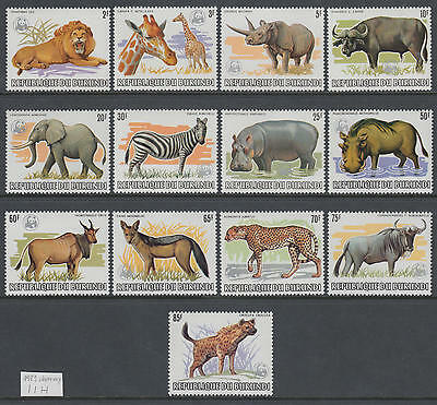 XG-AM100 BURUNDI - Wwf, 1983 Wild Animals, Silver Overprint MNH Set