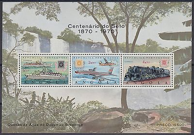 XG-AM764 ANGOLA IND - Stamp On Stamp, 1970 Trains, Aviation, Ships MNH Sheet