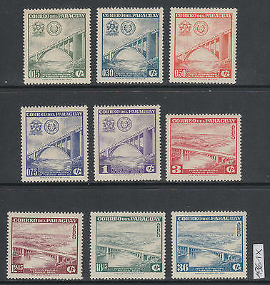XG-AM010 PARAGUAY - Bridges, 1961 Architecture, 9 Values MNH Set