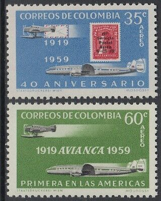 XG-AM984 COLOMBIA - Aviation, 1959 Stamp On Stamp, Avianca Anniversary MNH Set