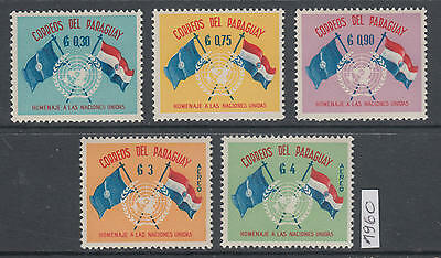 XG-AM007 PARAGUAY - United Nations, 1960 Flags, 5 Values MNH Set
