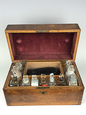 Antique 19th C Cased Apothecary Chest with Key and Contents - Pharmaceutical Box