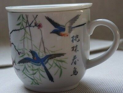 Oriental Tea Cup with Strainer blue birds pink flowers branches - Great Gift