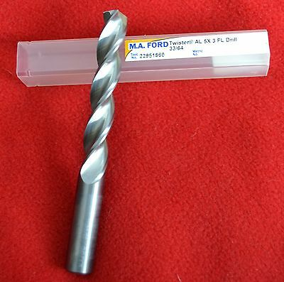 "MA Ford 22951560, 33/64"" Twister AL 5X, High Performance, 3-Flute Carbide Drill"