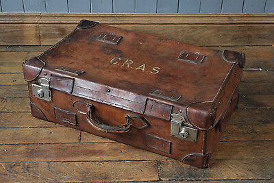 Vintage Antique Leather Travel Case Suitcase Shipping Trunk Steamer