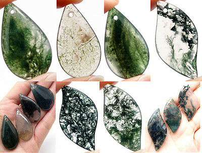 Random pattern Natural clear Druzy moss Grass Agate Picture Pendant reiki Bead