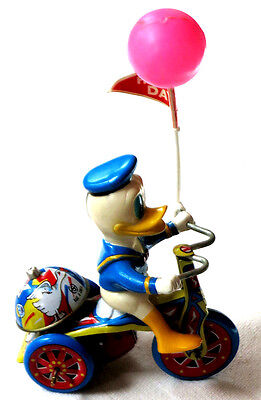 Vintage - Donald Duck - Mechanical Tricycle - Tin Toy - Wind-Up