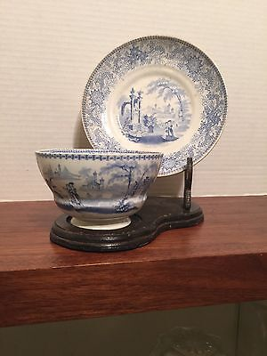 W Adams Early  1800s No Handle Cup & Saucer Blue Transferware NICE