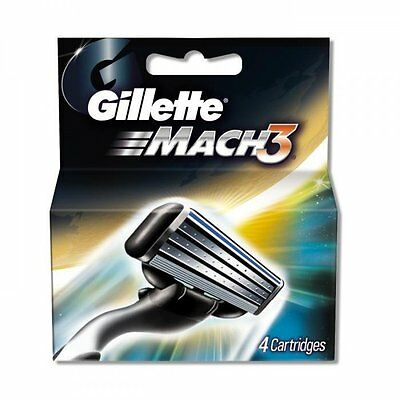 Gillette Mens Mach3 Turbo Razor Shaving Blades, Pack of 4 Cartridges Replacement