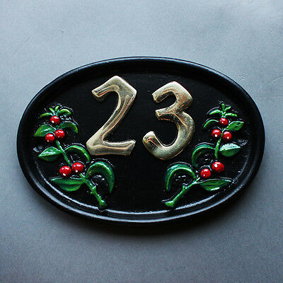 Personalised Cast House Number Sign Black Antique Vintage Door Plaque Plate NS03