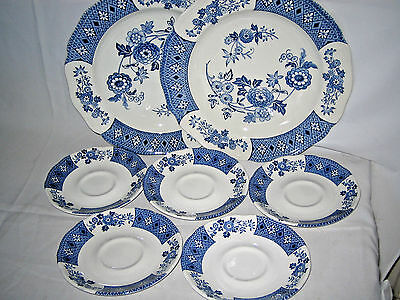 J & G Meakin CATHAY 2 Dinner Plates + 5 Saucers England Ironstone Lot of 7-pc