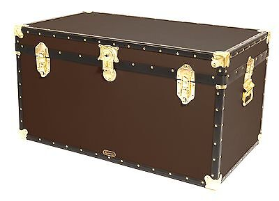 "BROWN Traditional British Mossman Made 36"" Cabin Chest Boarding School Trunks"