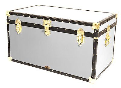 """WHITE Traditional British Mossman Made 36"""" Cabin Chest Boarding School Trunks"""