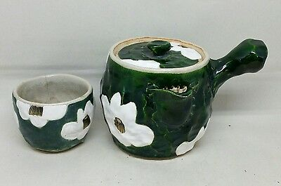 Antique Vtg Japanese Studio Pottery Teapot and Cup Green Glaze Signed YAHEIJI
