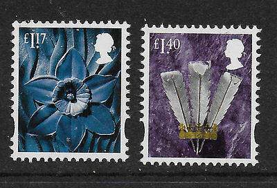 1) GB Stamps 2017 Wales Definitives £1.17 & £1.40 Mint NH.