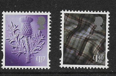 1) GB Stamps 2017 Scotland Definitives £1.17 & £1.40 Mint NH.