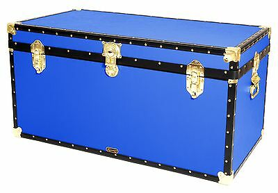 "BLUE Traditional British Mossman Made 40"" Queen Travel Storage Shipping Trunk"