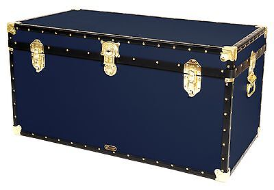 "NAVY Traditional British Mossman Made 40"" Queen Travel Storage Shipping Trunk"