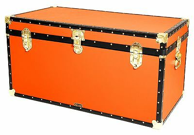 "ORANGE Traditional British Mossman Made 40"" Queen Travel Storage Shipping Trunk"