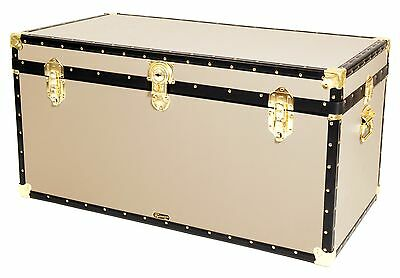 "CREAM Traditional British Mossman Made 40"" Queen Travel Storage Shipping Trunk"