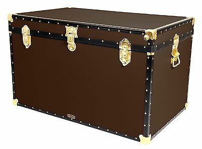"BROWN Traditional British Mossman Made 40"" King Size Storage Travel Chest Trunk"
