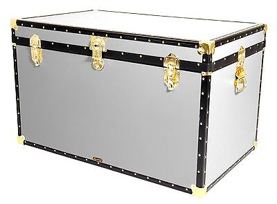 "WHITE Traditional British Mossman Made 40"" King Size Storage Travel Chest Trunk"