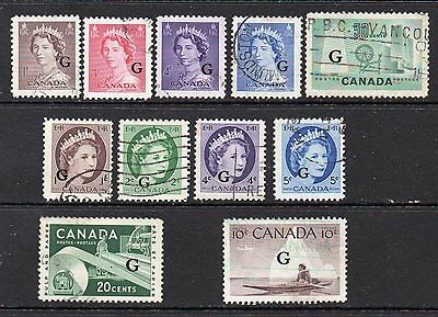 "Canada: 8-QEII  ""G""  O/P's + Textile, Paper & Kayak ""G"" Issues (Reduced Postage)"