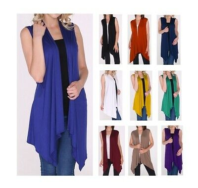 New Women's Open Front Long Tunic Vest Top Draped Cardigan SML/Plus Size 2XL 3XL