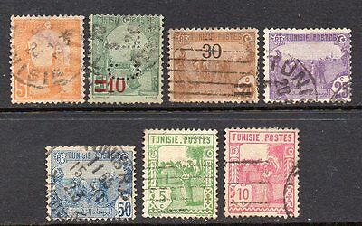 Tunisia: A Very Nice Selection of 7-Used 1921 to 1926 Issues (Reduced Post)